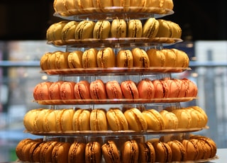 tower of assorted-flavor French macaroons
