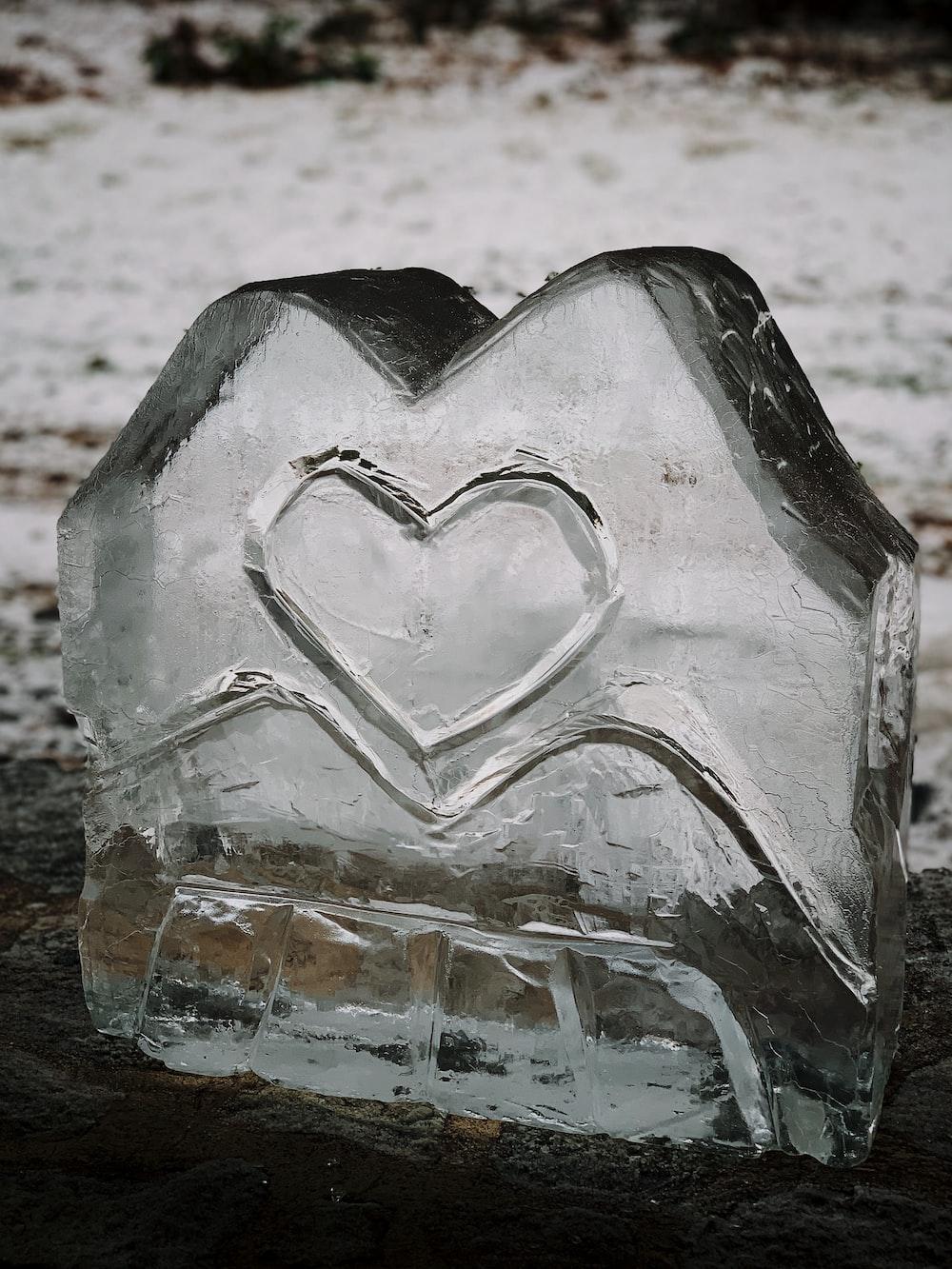 heart-themed ice block decor