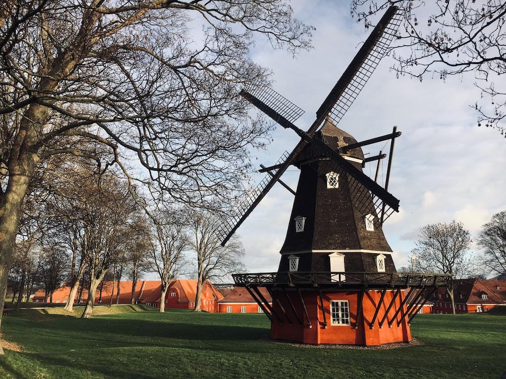 black and orange windmill near trees