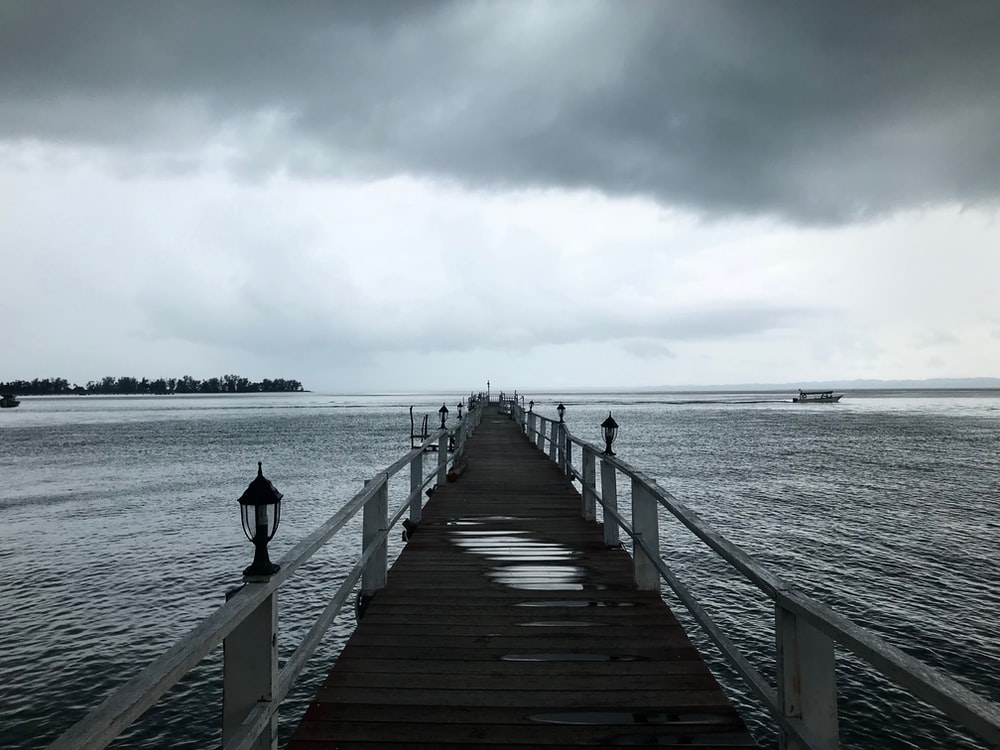 grayscale photo of sea dock