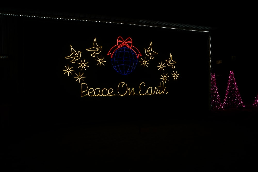 peace on earth neon signage