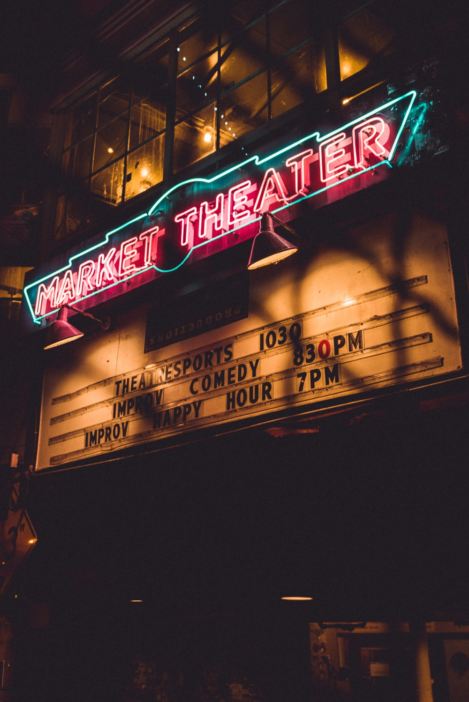 Market Theater LED signage at nighttime