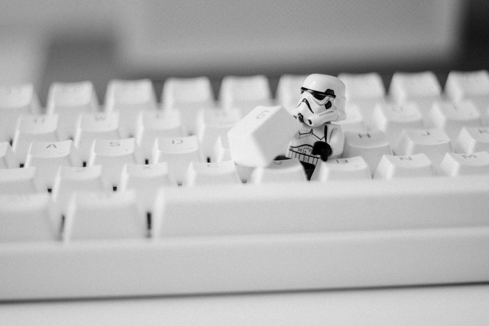 Star Wars Stormtrooper under keyboard key