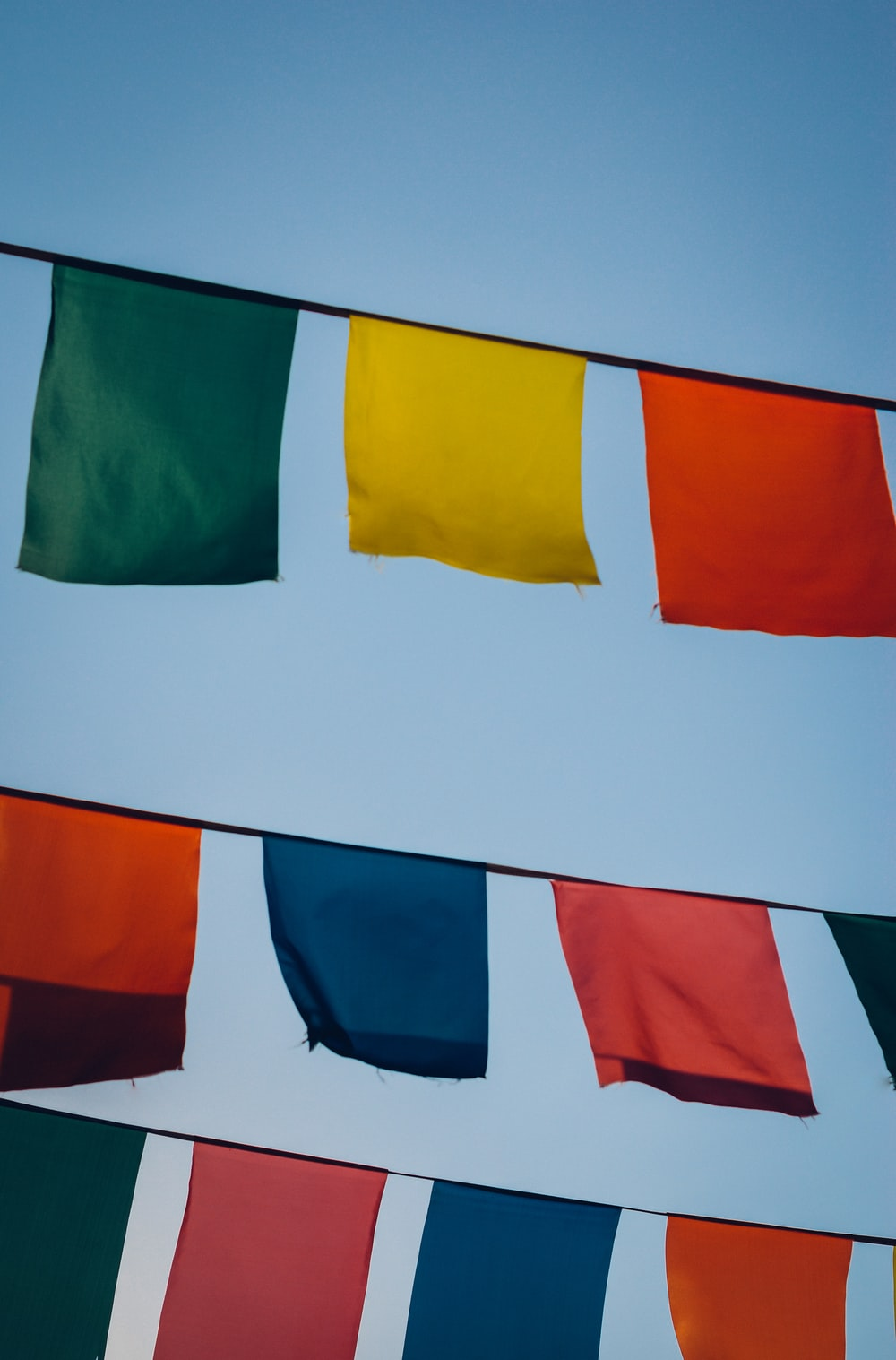 red, yellow, and orange flaglets