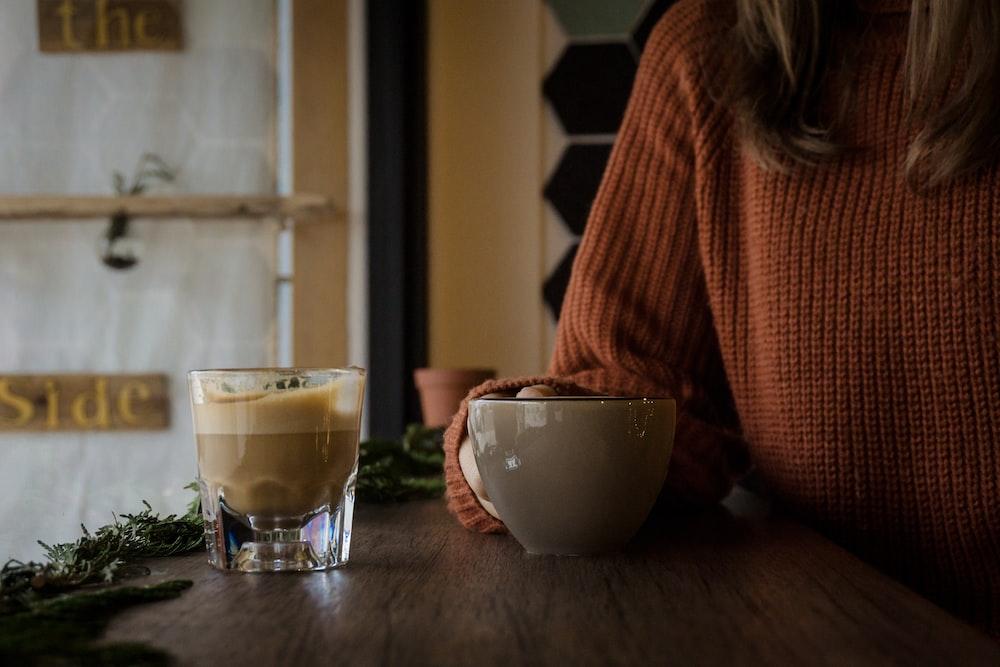 gray ceramic teacup
