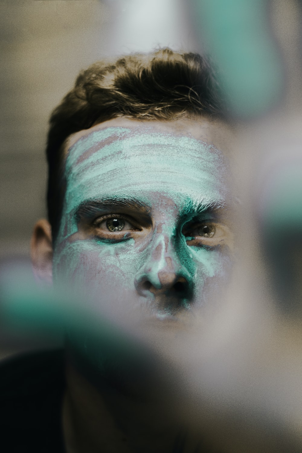 man face with paint
