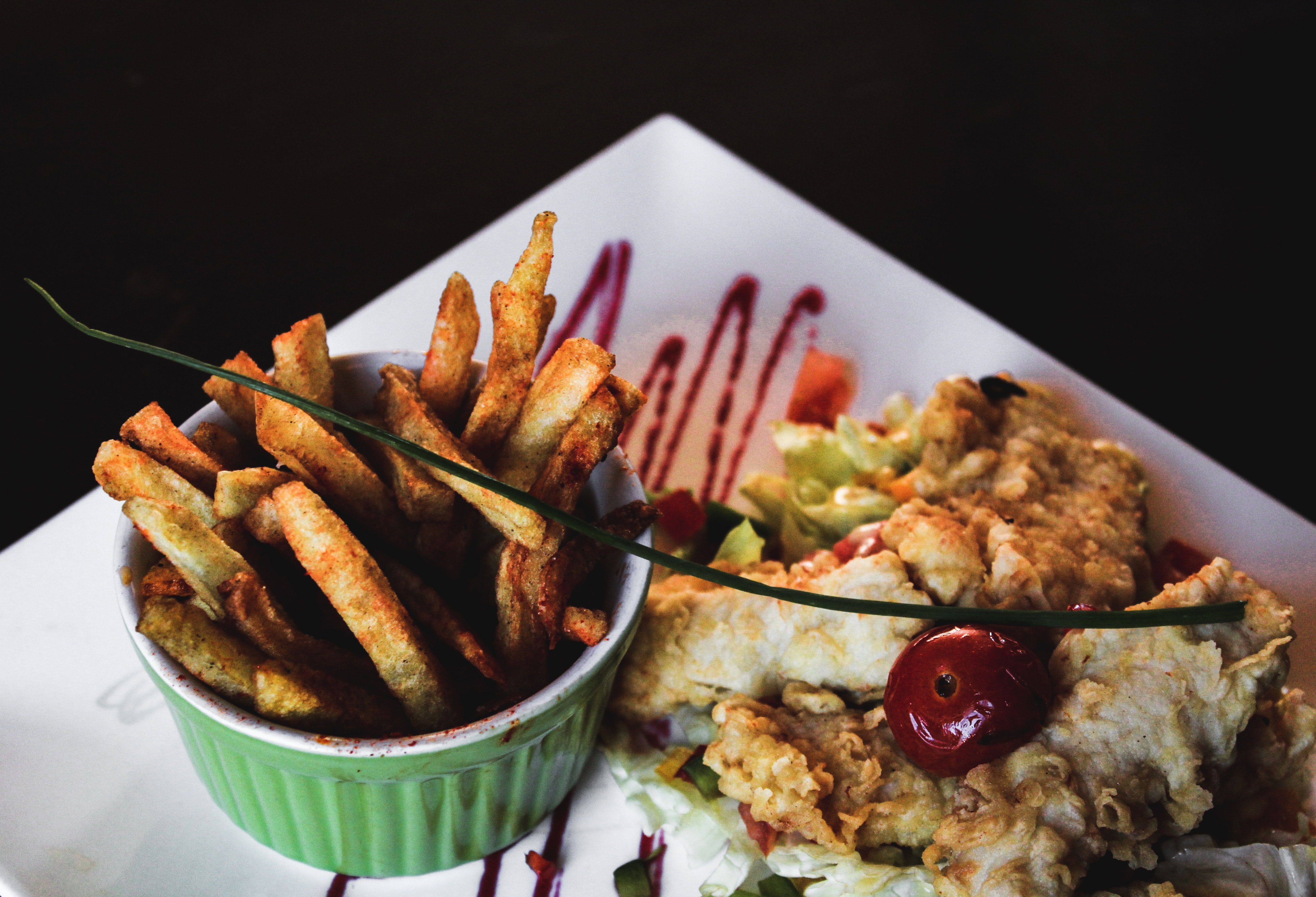 fries and omelet