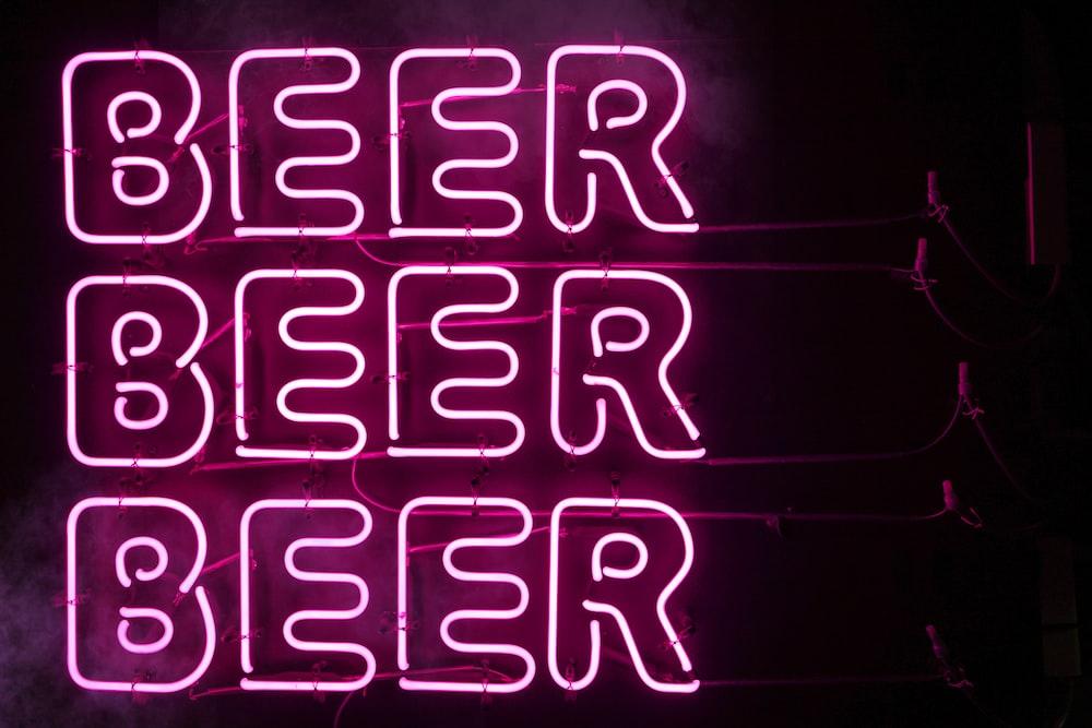 pink Beer LED signage