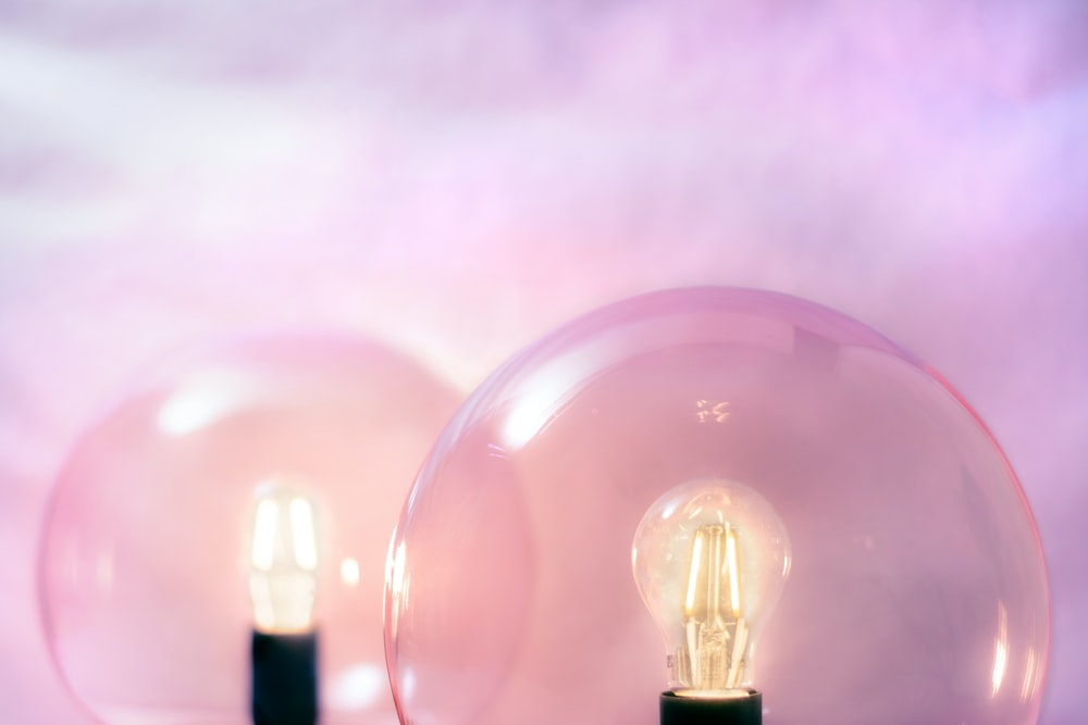 two clear glass bulbs