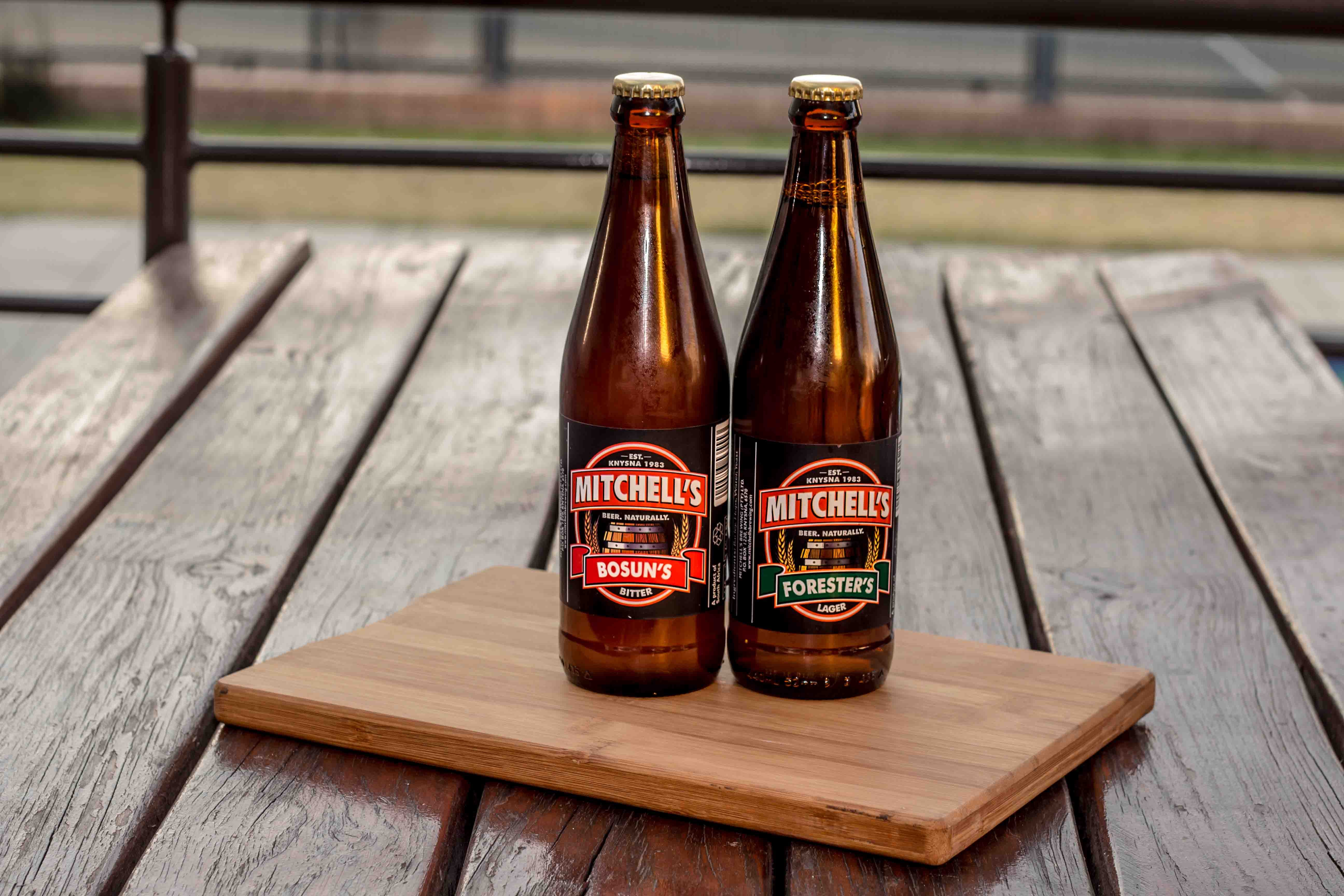 two Mitchell's bottles on tray