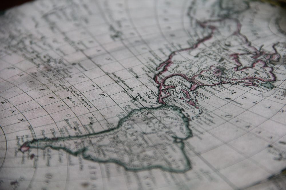 close-up photography of world map