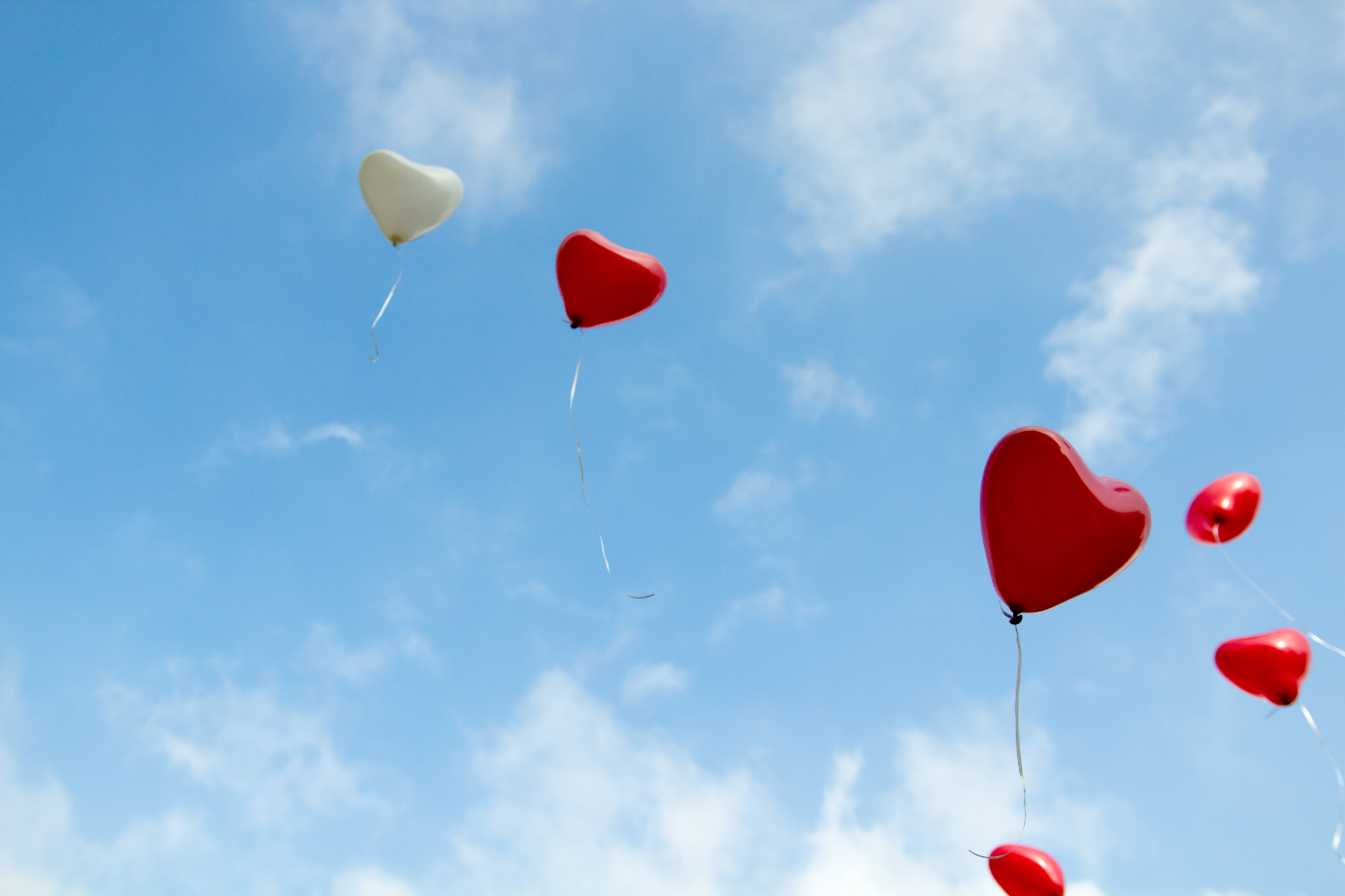 This shot was taken on my brothers wedding. After ceremony everyone got a heart shaped balloon which then were released into the sky of a nice sunny day.