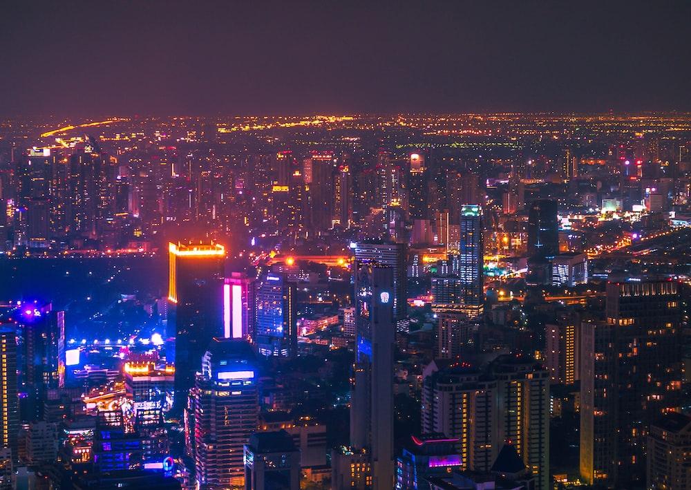 aerial photo of city at night