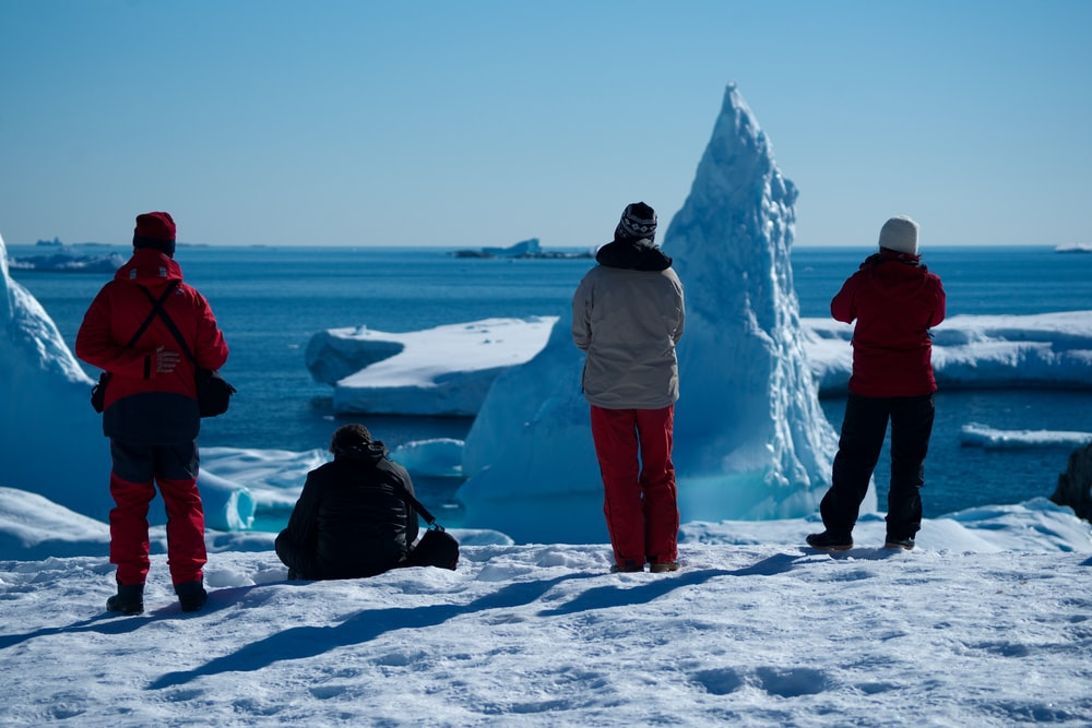 four people on ice near icebergs during daytime