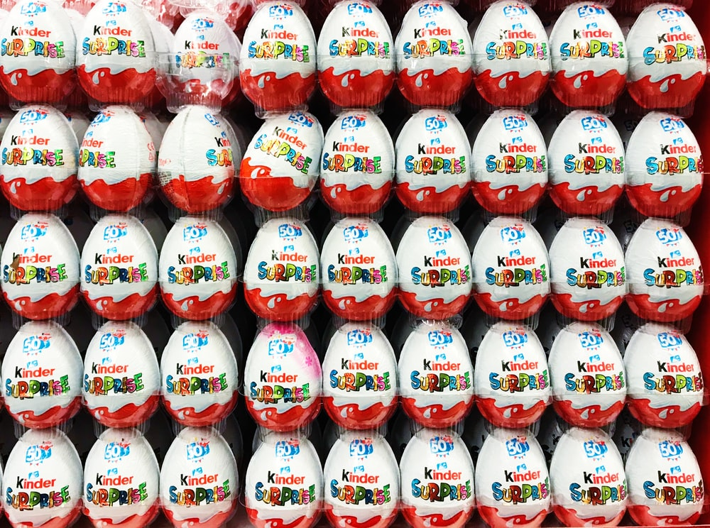 white and red chocolate eggs