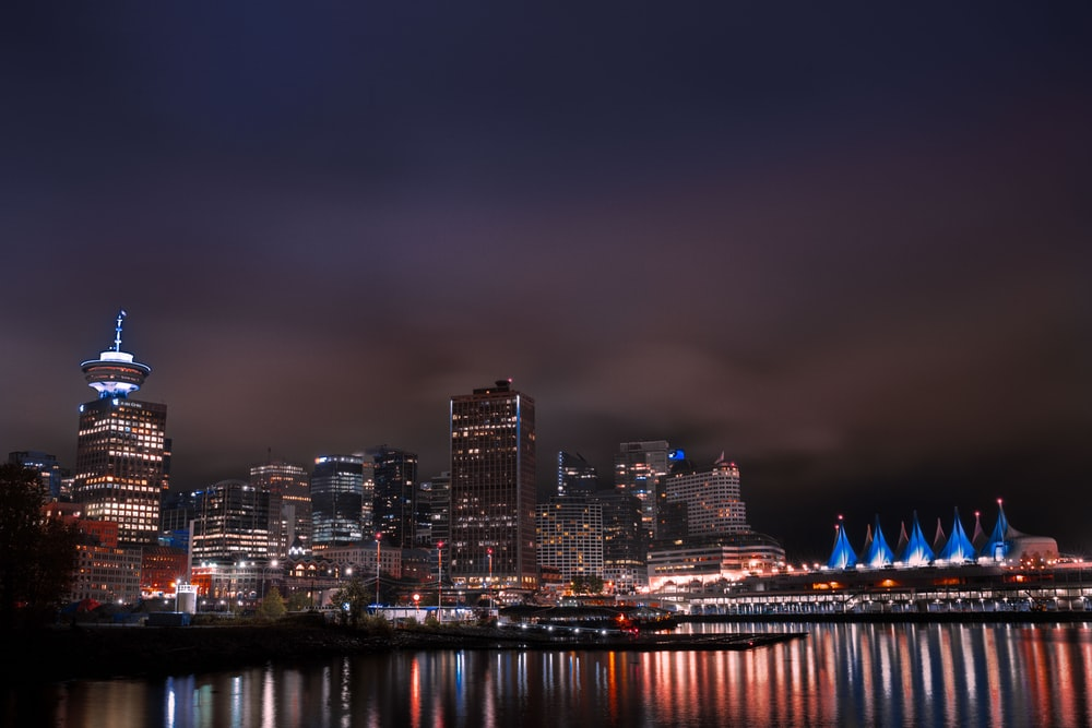 city and bay during night