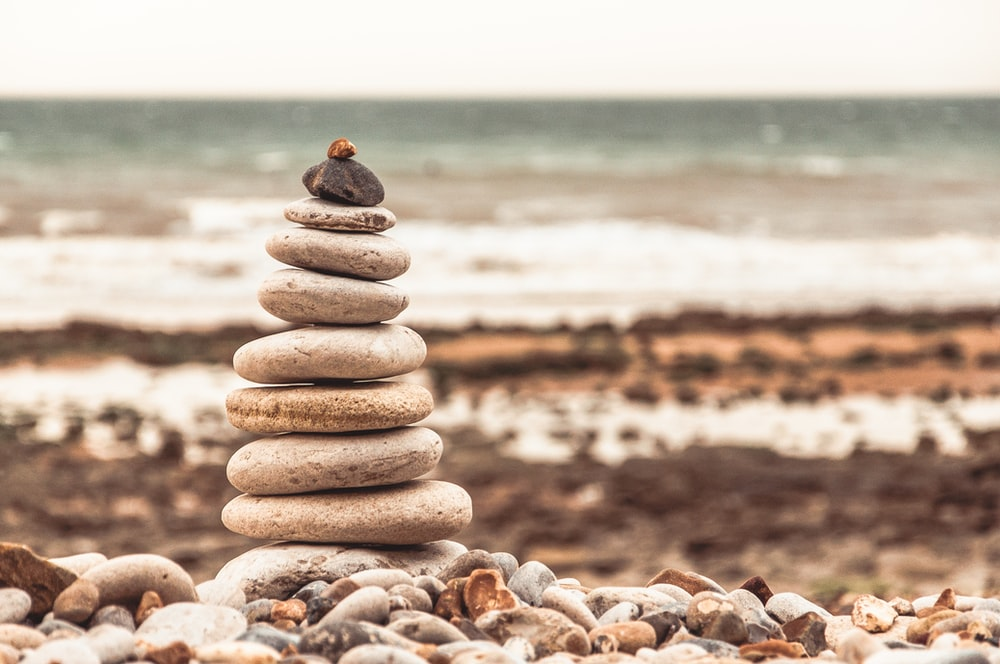 pile of stones on shore