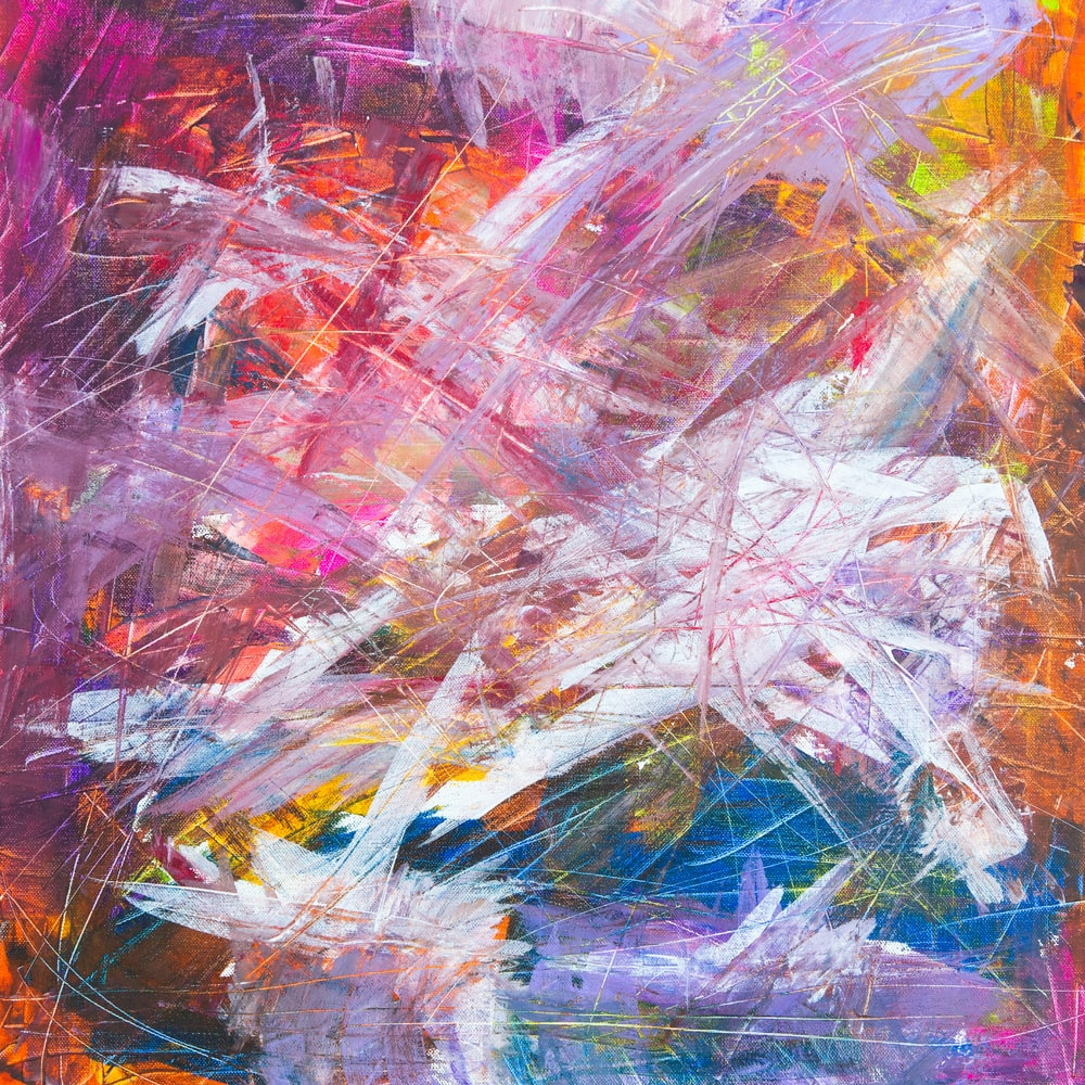 multicolored scratch abstract painting