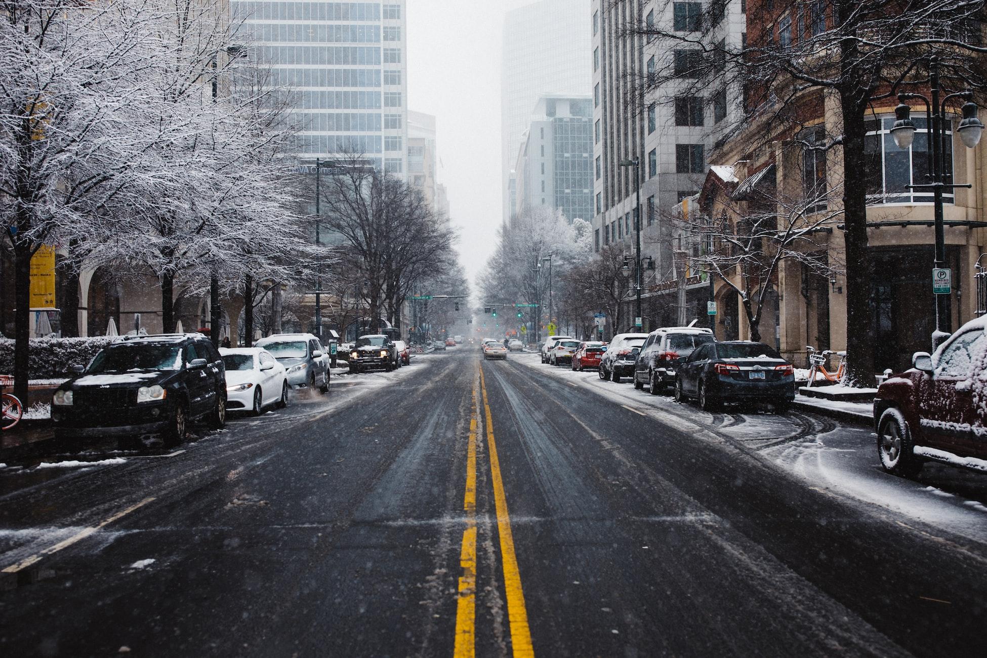 snowy street in Charlotte, NC