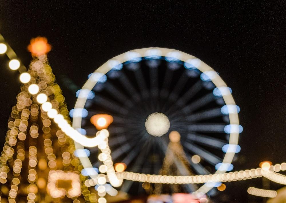 white ferris wheel during night