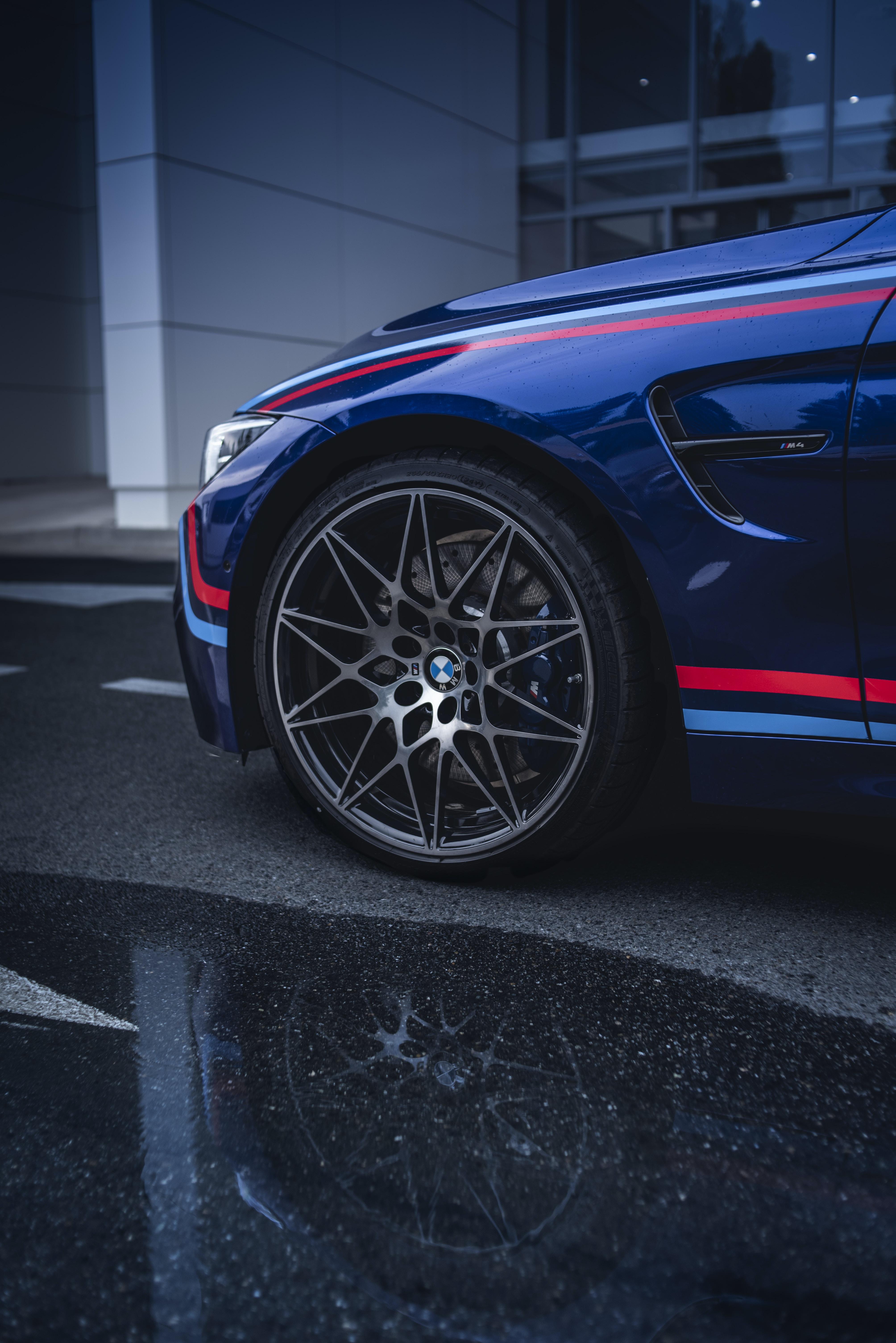 black and blue car wheel