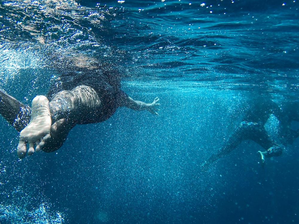 two person swimming in sea