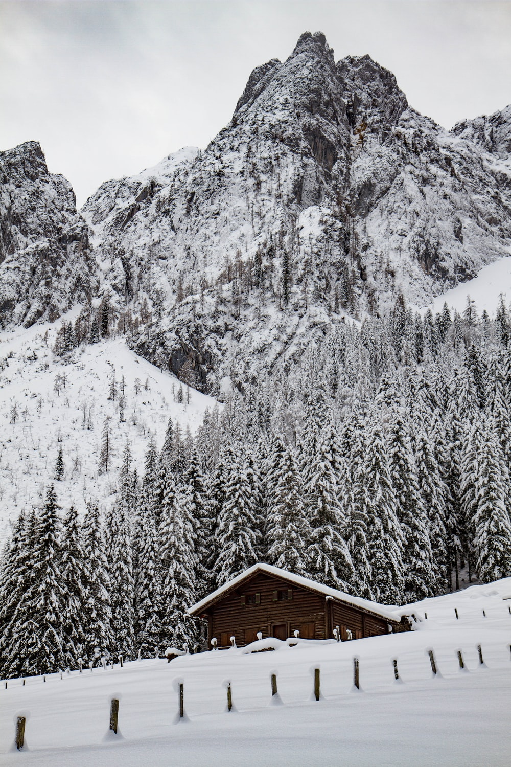 brown cabin on snow-covered mountain