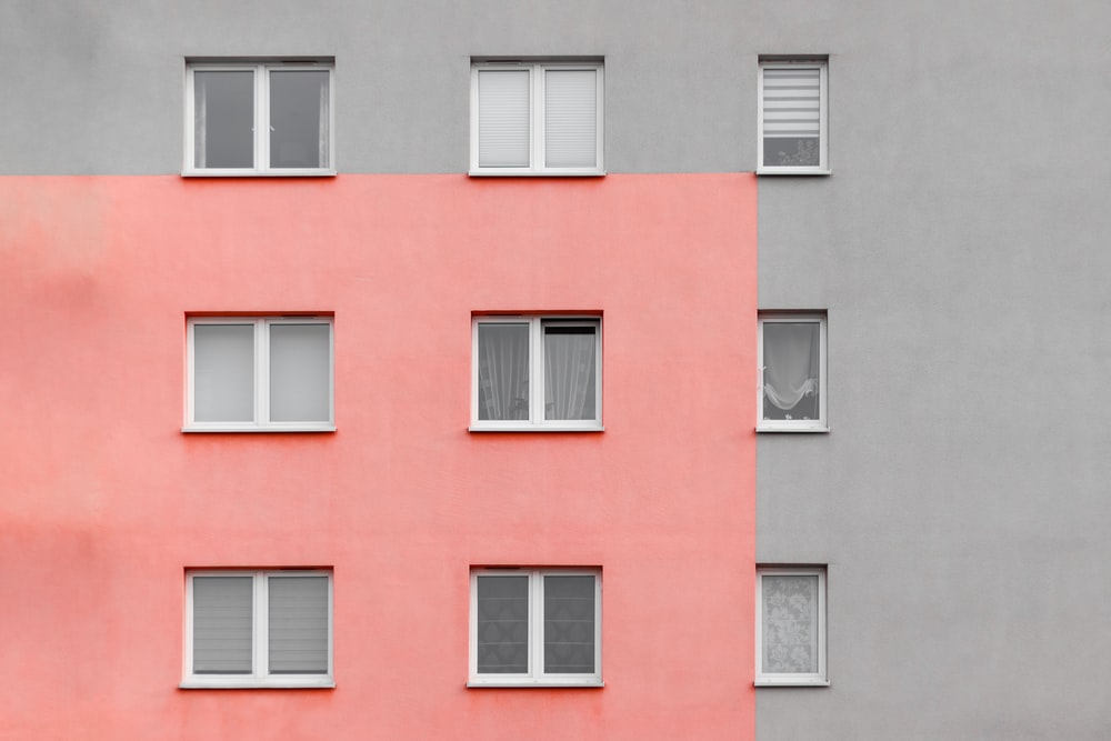 view of pink and gray building