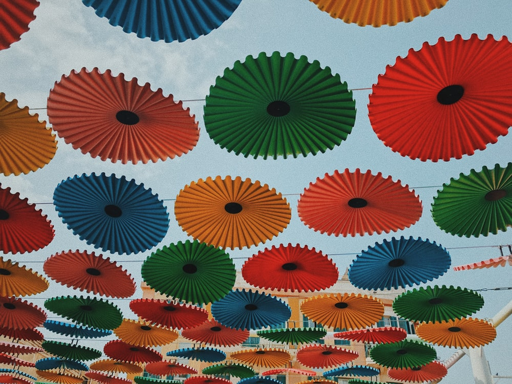 assorted-color umbrellas during daytime