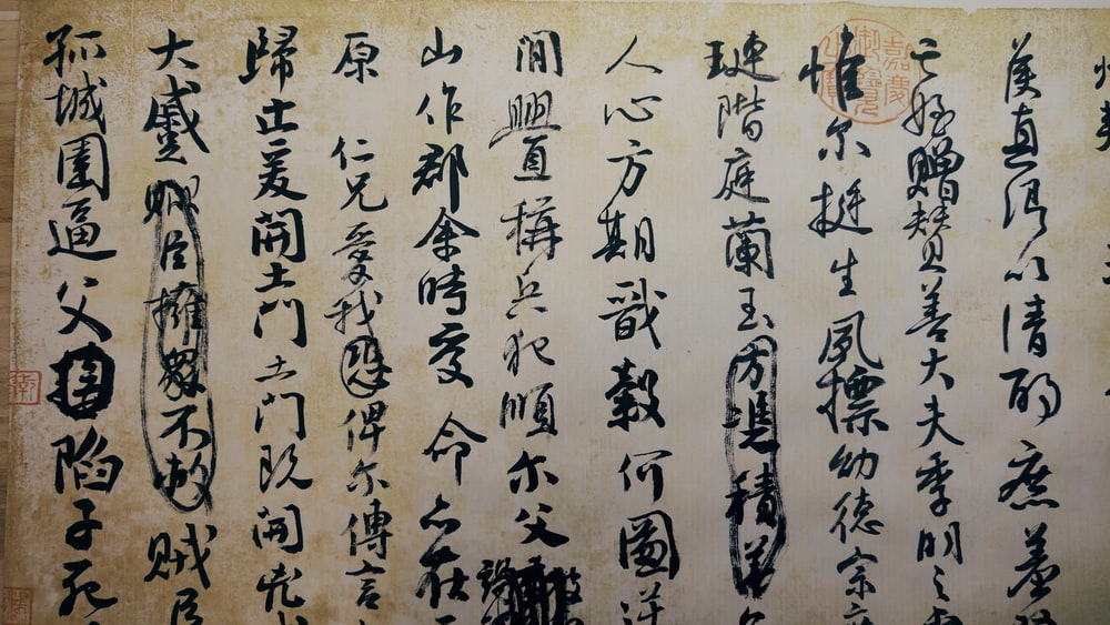 Kanji text printed poster