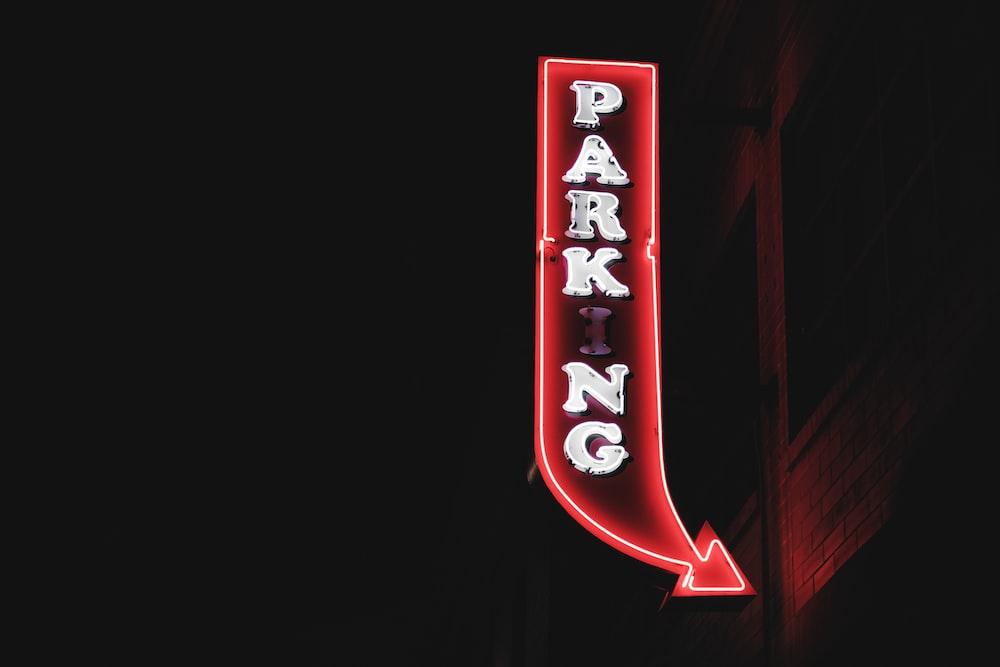 parking neon signage