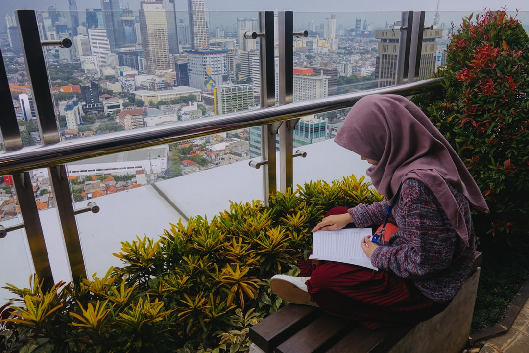 The girl with the book on the Rooftop