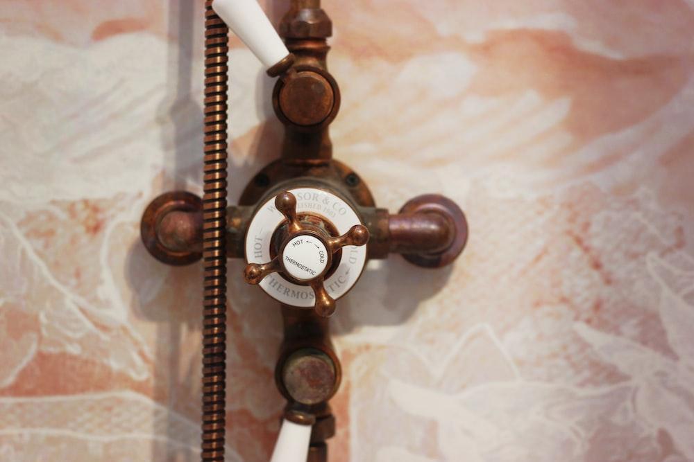 brown shower valve