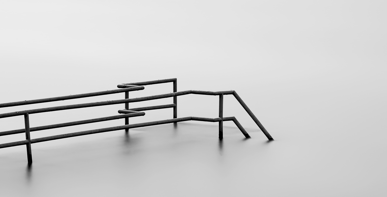 black metal frame with black metal stand