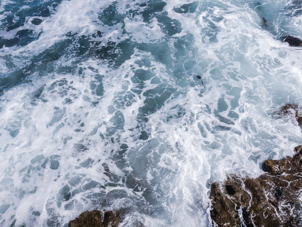 waves crashing in rocks