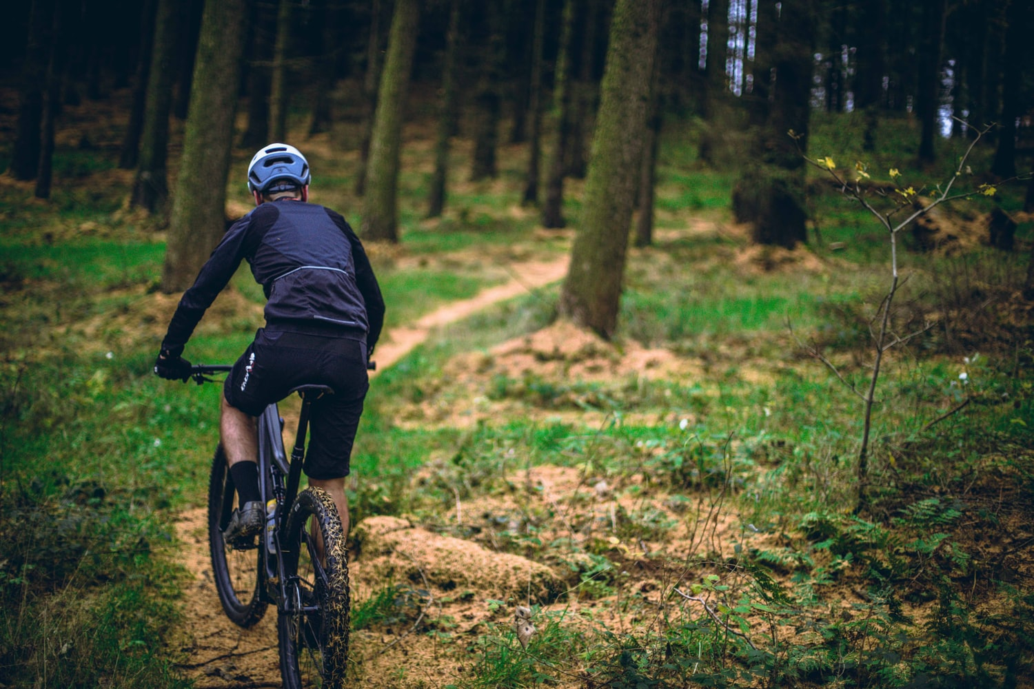 Man with blue helmet riding mountain bike