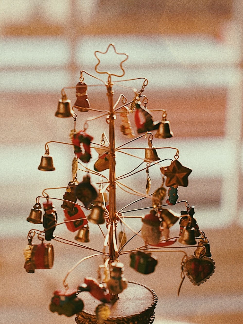 string Christmas tree with ornaments