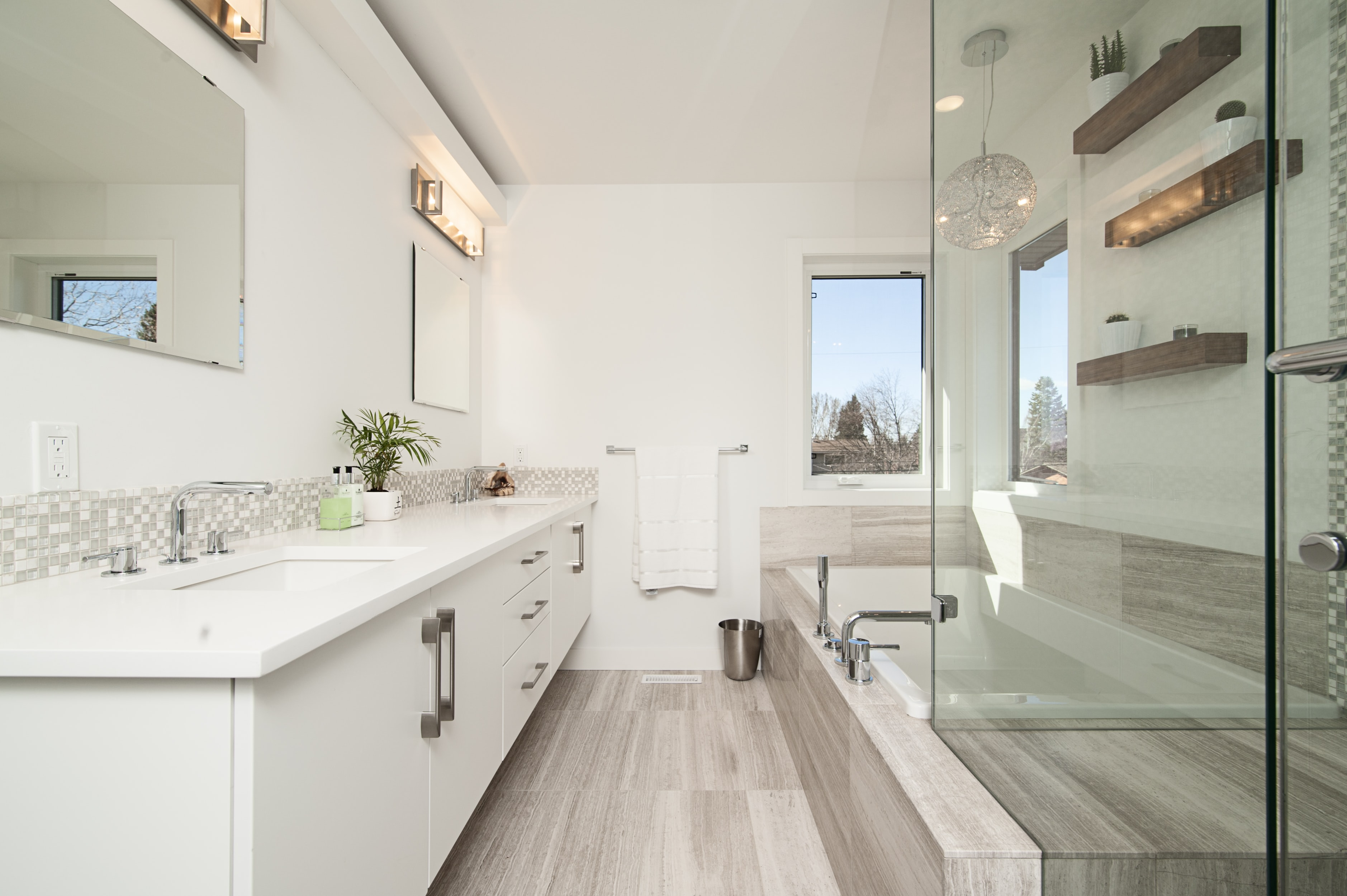 rectangular white wooden bathroom cabinet with sink