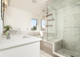 clear glass shower cubicle cover