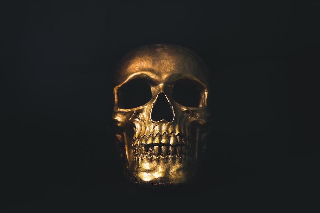 gold skull decor