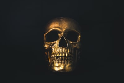 a fun meditation on death gold skull