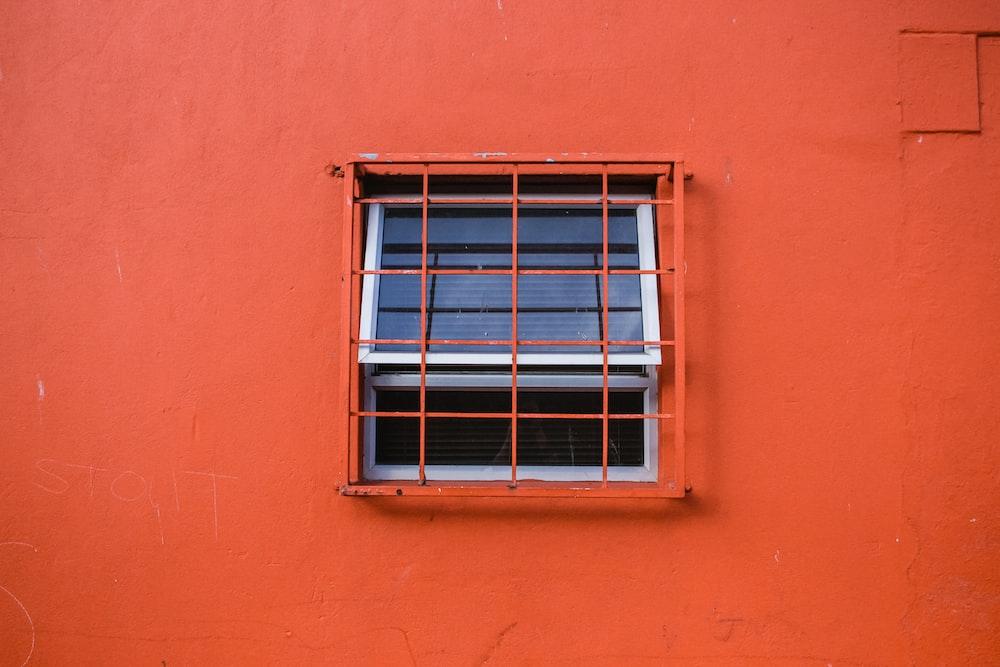 orange metal window grills