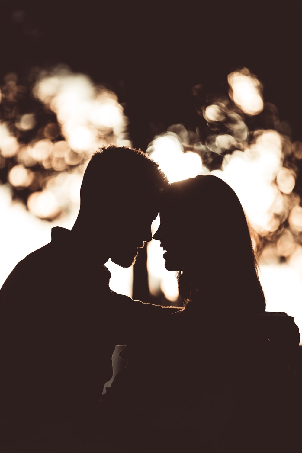 silhouette photography of couple