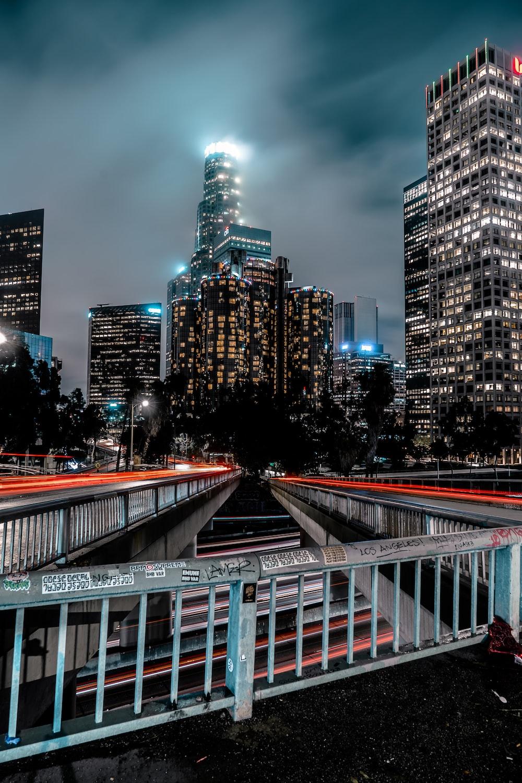 gray metal bridge fence
