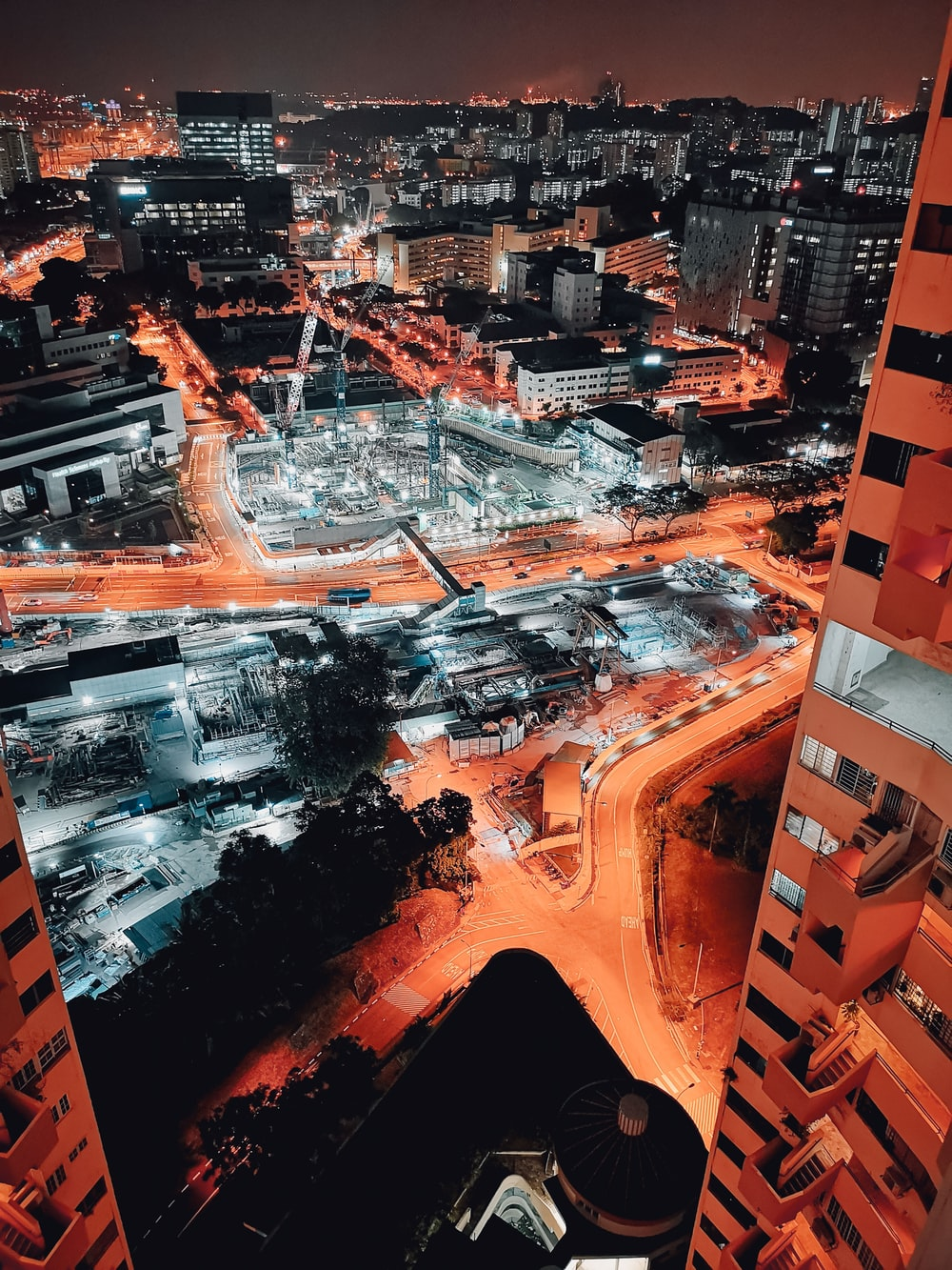 aerial photo of city buildings during nighttime
