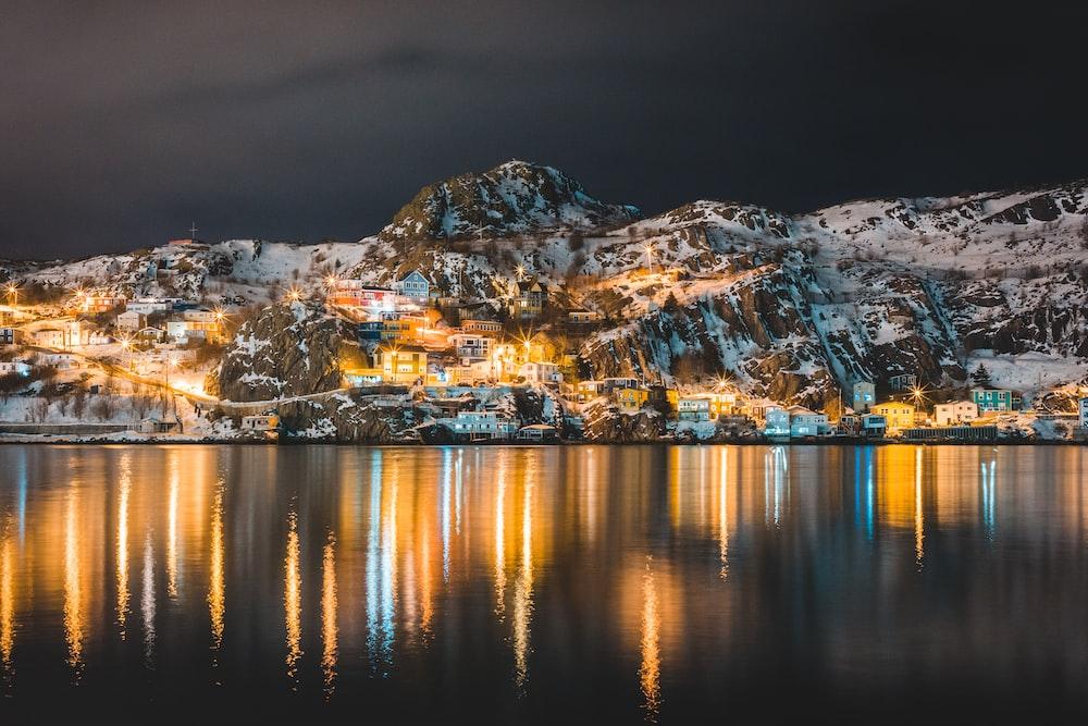white mountain at night time
