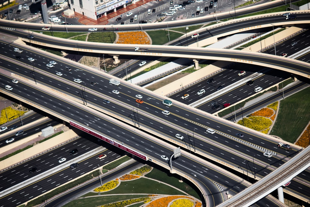 aerial view photography of roads