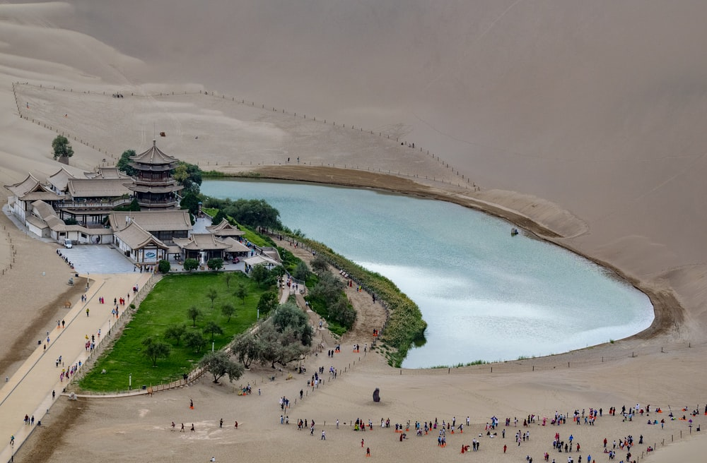 aerial photography of house at Lake Yueyaquan during daytime