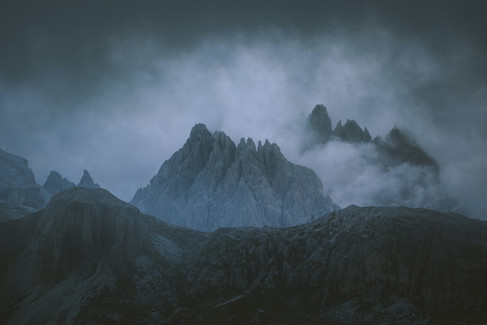mountain covered in fog