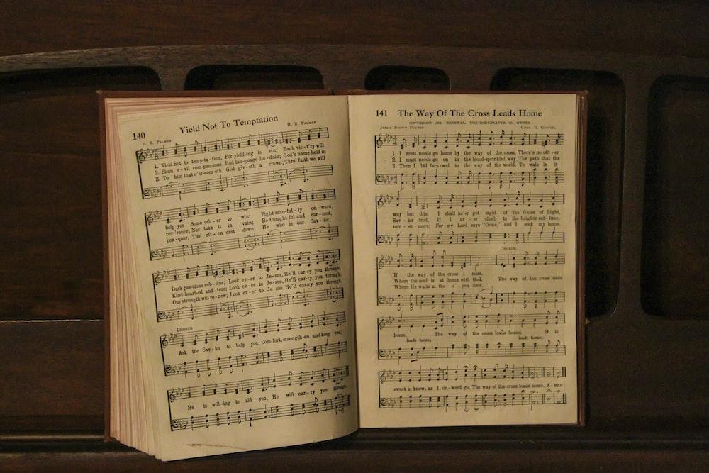 opened music book